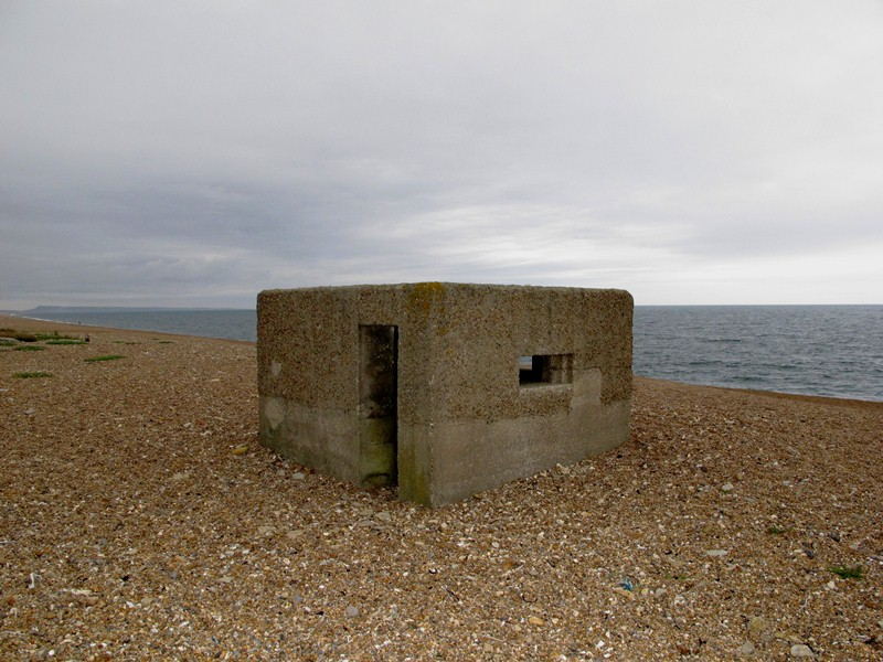 Type 26 Pillbox showing rear off set doorway and its pebble dash camouflage