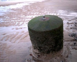 Spigot Mortar Base located on the beach at Winterton.