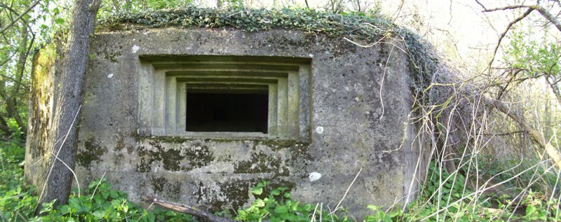 A fine example of a concrete shuttered emplacement on GHQ Line B in Surrey showing its large stepped main embrasure
