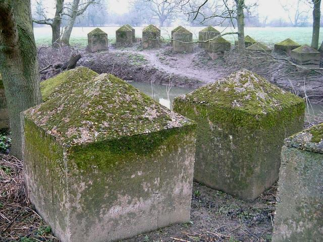 Pyramid Top Anti-Tank Cubes, River Mole, Surrey. Pic by Tim Denton 2006