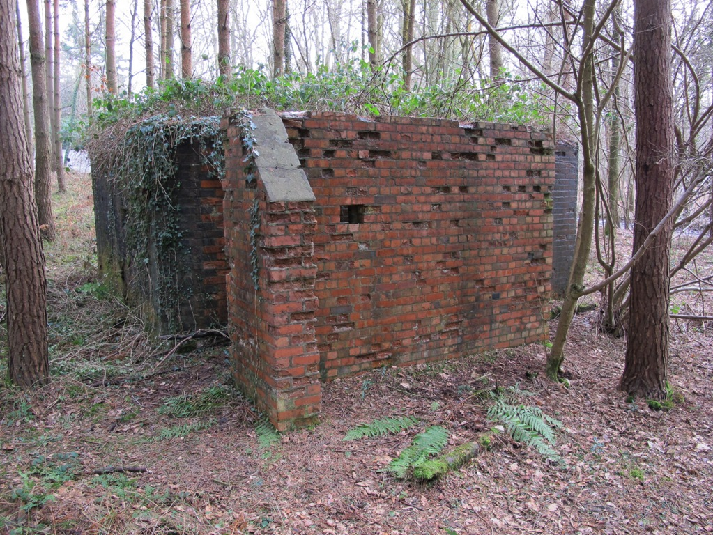 Rear view of 6 Pdr pillbox showing the buttressed blastwall with small loophole