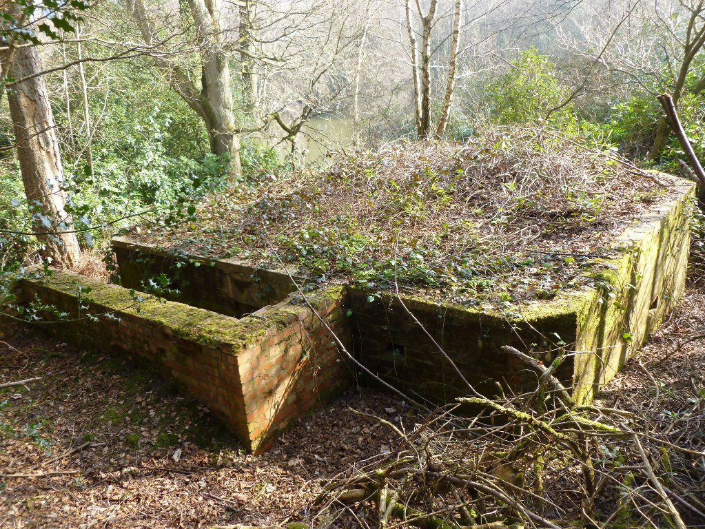 FW3/28 QF 6Pdr single chamber emplacement, Horsham, West Sussex,  showing dug in rear and L shaped rear blastwall