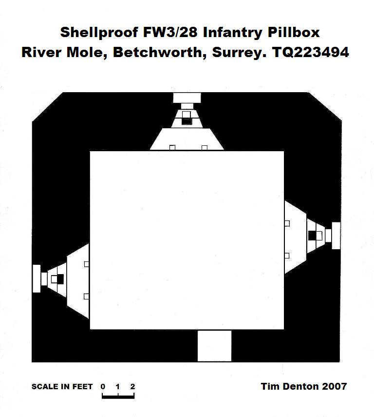 Plan drawing of FW3/28 Infantry Pillbox Copyright Tim Denton 2007