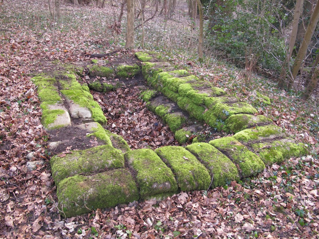 A well preserved cement filled sandbag firing position, River Wey Guildford.
