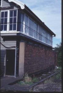 Darnall West signal box, Sheffield, with a blast wall built in front of it.