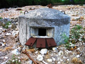 This is another variant found at the former Naval Air Station Barbers Point, Oahu.  It is entered from the rear below ground level and appears to have housed at least two men.