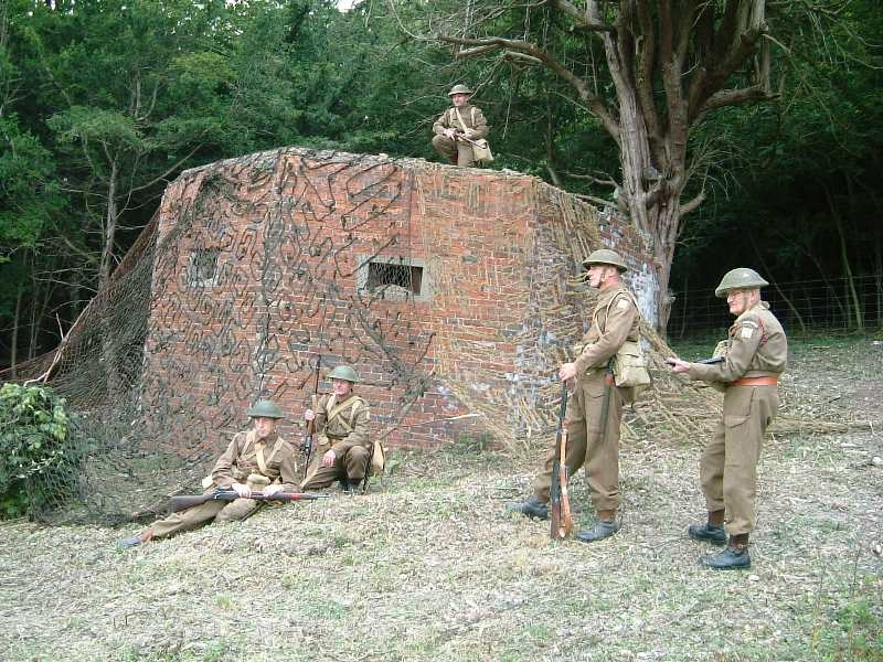 Five Homeguard pose beside the camouflaged type 24
