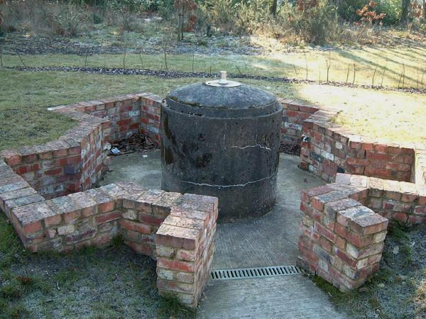 Recreated Spigot Mortar base at Elvetham Heath.