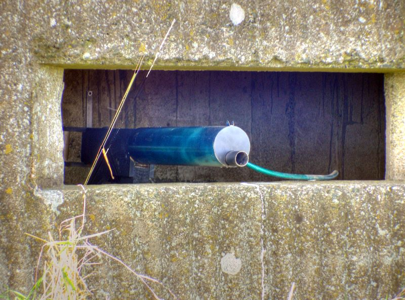 Beal Farm Rectangular Pillbox. Fake Lewis Gun in position.