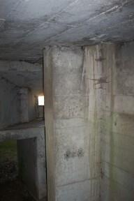 Sunken entrance ramp and cruciform internal wall showing area where Rotary Water Pump was fitted.