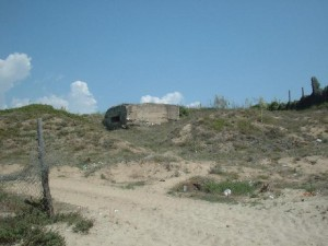 The view from the beach looking up towards the pillbox.