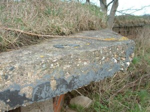 Remains of Bitumin covering on the roof of the Seagull Trench @ RAF ATCHAM, Shropshire