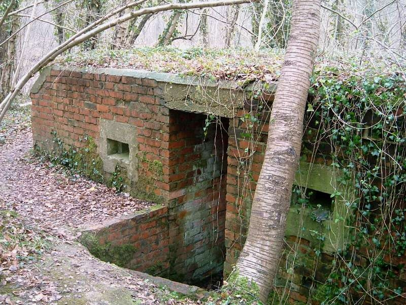 Rear entrance showing brick walled trench and rear loopholes