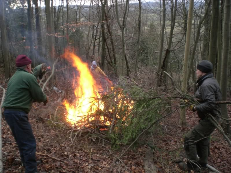 A good fire was got going to burn the waste.
