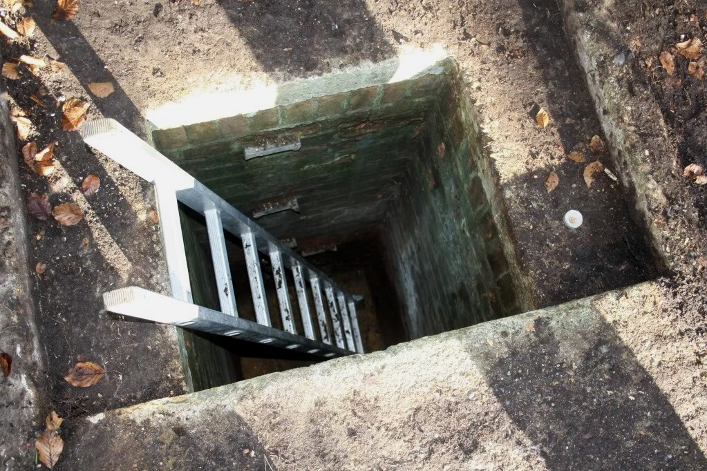 Good view down the shaft, note old rung remains in wall.