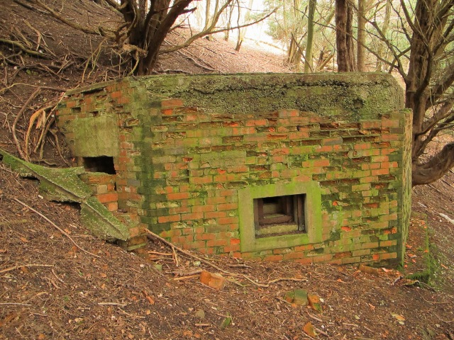 Built into the sloping hillside the shellproof pillbox has its entrance on the side.