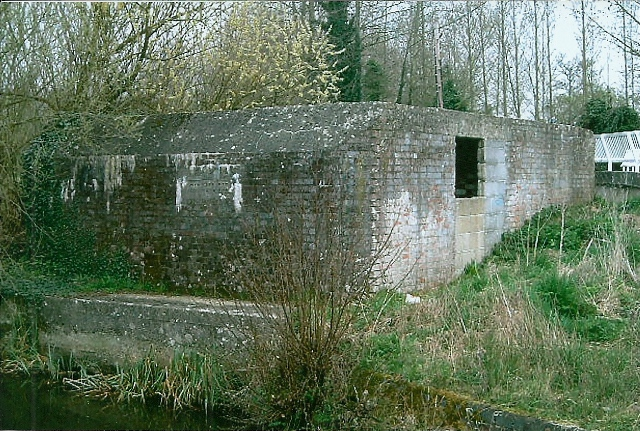 Rear corner view of Type 28A Pillbox note sealed side embrasure and partly blocked up doorway.
