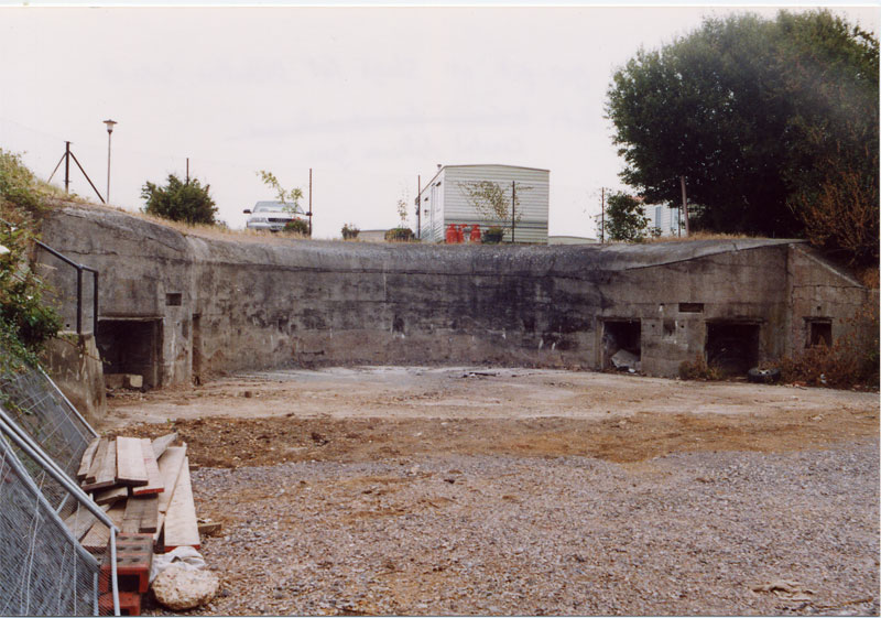 West side gun pit at Slough Fort.   Site of one of the Fort's Coastal Defence guns.