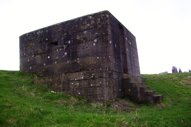 View of pillboxes substansial foundations and entrance steps.