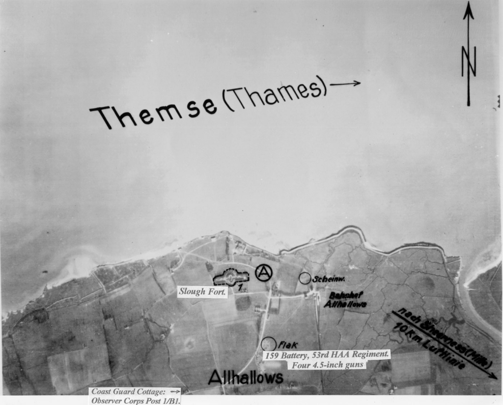 ALLHALLUFT.  German reconnaissance photo of Allhallows taken May/June 1940. Photo: Nigel J Clarke Publications, by kind permission. Captions added by Mitch Peeke.