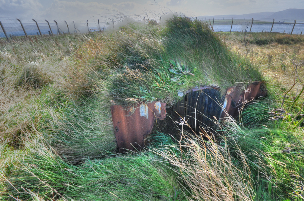 Anderson Shelter in situ at Ness Battery, Orkney