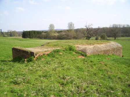 Rear three quarter view showing gun emplacements low profile due to dug in nature