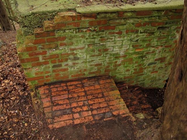 Brick platform preceeding steps down