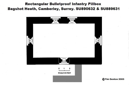 Plan of Rectangular Infantry Pillbox, Bagshot Heath
