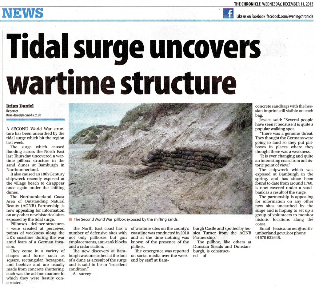 Wartime Structure Uncovered in Bamburgh Submitted by Steven Lewins