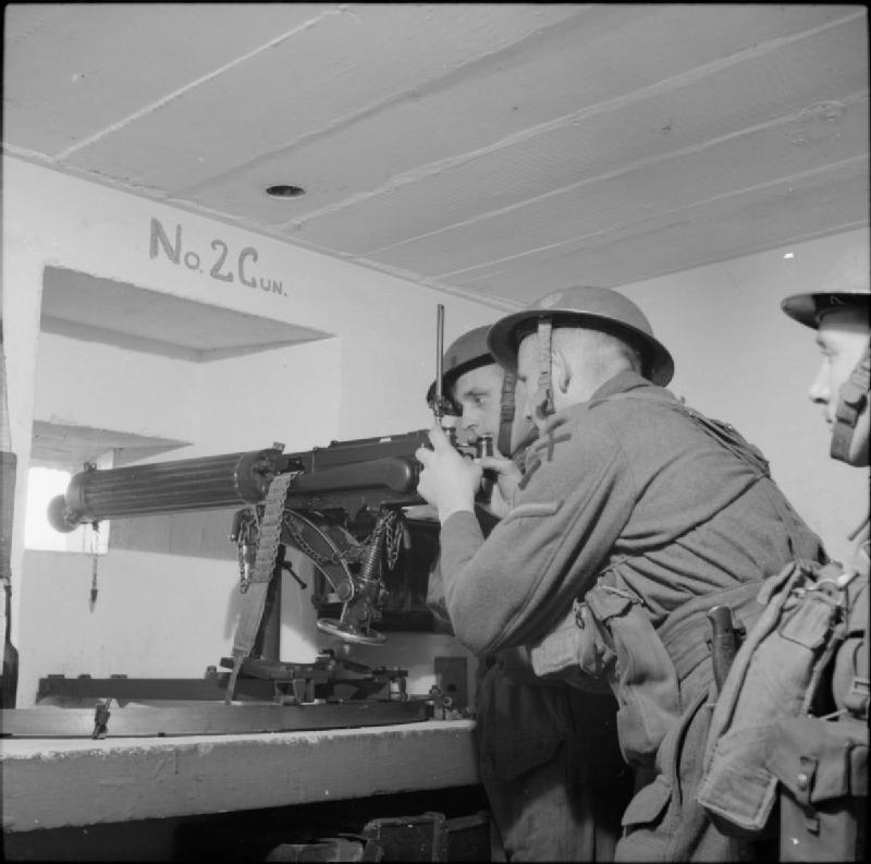 "Inside a Vickers machine-gun post in the underground defences on the Rock of Gibraltar, 9 April 1942. ""THE BRITISH ARMY ON GIBRALTAR 1942"" © IWM (GM 428) IWM Non Commercial Licence."