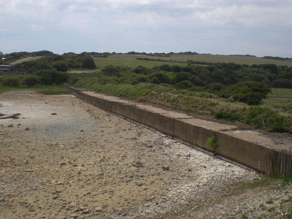 The vast Ant-tank wall at Cuckmere Haven in East Sussex. Pic by Tim Denton 2011.