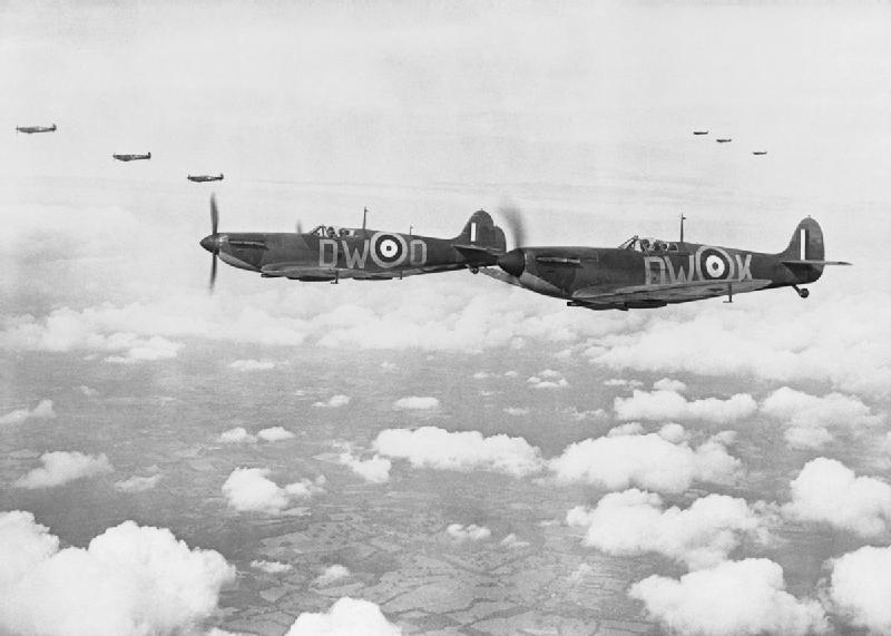Supermarine Spitfire Mark Is of No. 610 Squadron based at Biggin Hill, flying in 'vic' formation, 24 July 1940. THE SECOND WORLD WAR 1939 - 1945: THE BATTLE OF BRITAIN JULY-SEPTEMBER 1940. © IWM (CH 740) IWM Non Commercial Licence