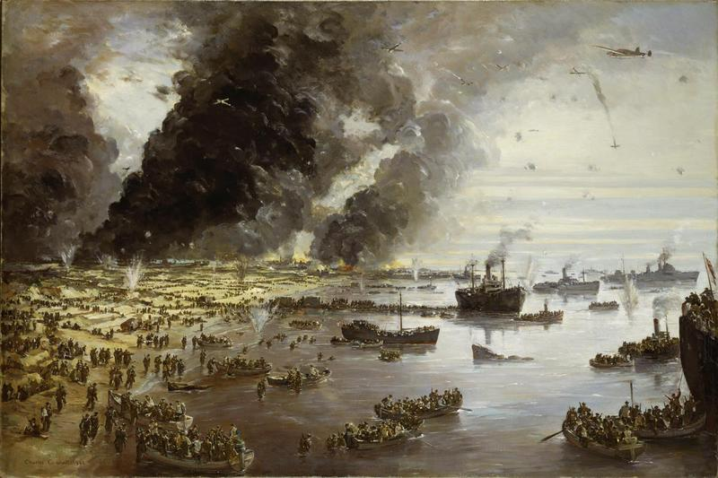On the left of the painting stretch sand-dunes covered with groups and long lines of khaki-dressed troops. Small boats loaded with troops move out from the sea shore towards larger vessels to the right of the work. Across the centre troops queue along a makeshift jetty towards the waiting ships. In the left background huge black smoke clouds from the town fill the sky. Aircraft fly amongst explosions from anti-aircraft fire, one plane plummeting towards the right horizon. The Withdrawal from Dunkirk, June 1940. © IWM (Art. IWM ART LD 305) IWM Non Commercial Licence