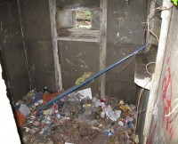 The interior full of a mixture of aged rubbish