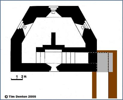 Plan of Variant Pillbox Basingstoke Canal. © Tim Denton 2005
